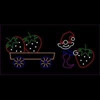 10' x 23' Animated Elf Loading<br />Strawberries on Wagon