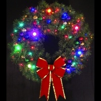 4' Cascade Wreath with LED<br />lighted Ornaments