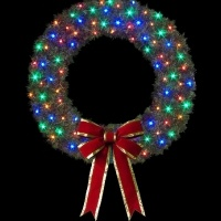 8' Cascade Wreath with C7 LED<br />and Bow